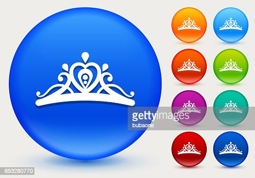Tiara Icon on Shiny Color Circle Buttons : Vektorgrafik