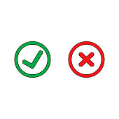 Tick and cross signs. Green checkmark OK and red X icons, isolated on white background