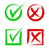Tick and cross signs. Symbols yes and no, accept or decline symbol vector buttons.