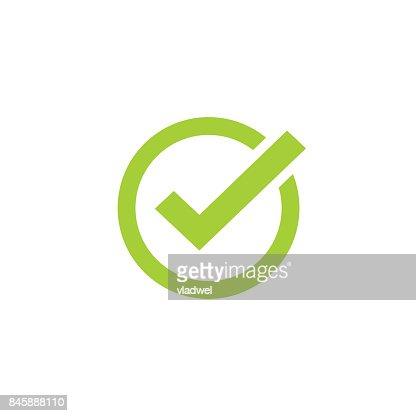 Tick icon vector symbol, green checkmark isolated, checked icon or correct choice sign, check mark or checkbox pictogram : stock vector