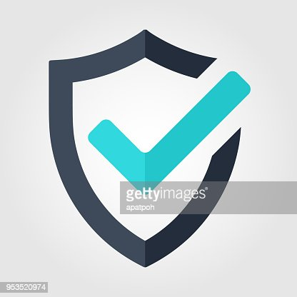 Tick mark approved icon. Shield vector on white background : stock vector