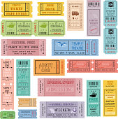 easy to edit vector illustration of ticket collection