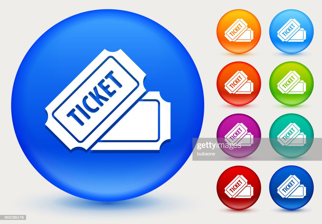 Ticket Icon on Shiny Color Circle Buttons : Vector Art