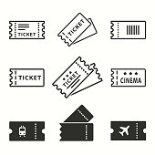 Ticket vector icons set. Black illustration isolated for graphic and web design.