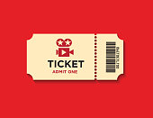 Retro styled ticket set on red background. Ticket is beige in color and casting soft shadows on the background. Vector illustration.