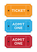 Retro styled ticket set on white background. Tickets are orange red and blue  in color and casting soft shadows on the background. Vector illustration.