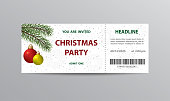 Ticket stub template for Christmas party with hanging balls and Christmas tree branches.