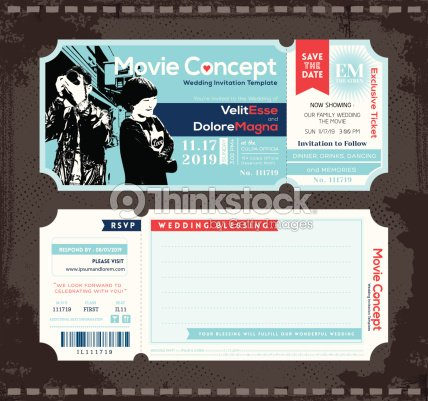 Ticket Wedding Invitation Design Template Vector Art – Ticket Design Template
