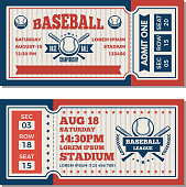 Tickets design template at baseball tournament. Vector baseball ticket, sport game competition illustration