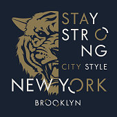 Tiger t-shirt print design. New York City typography. Tee graphics. Vector illustration
