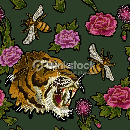 Tiger Bee And Peony Flowers Embroidery Pattern For Textile Design