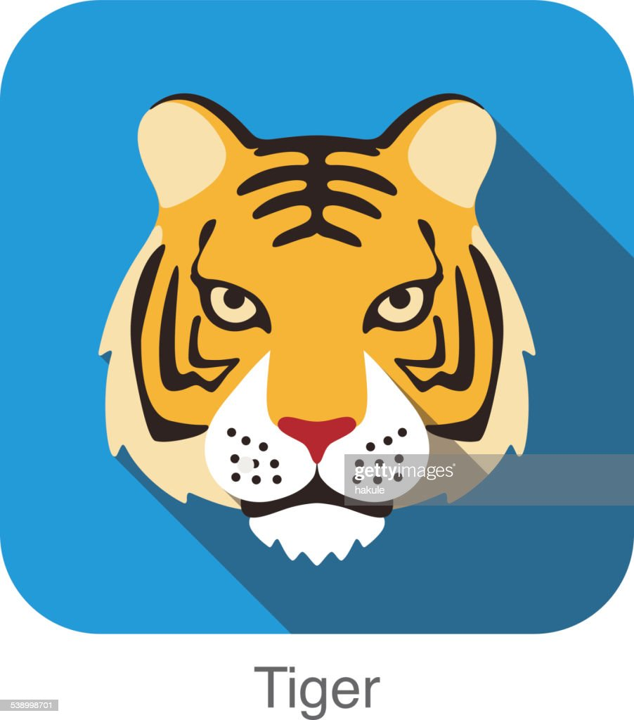 tiger cat breed face cartoon flat icon design vector art getty