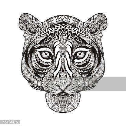 Tiger Face Hand Drawn Doodle Vector Illustra Vector Art