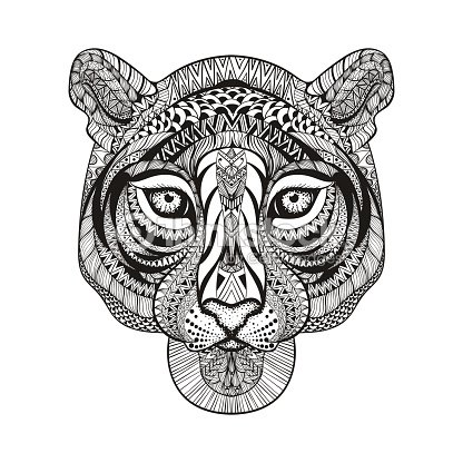 Tiger Face Hand Drawn Doodle Vector Illustra Vector Art