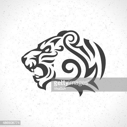 tiger face logo emblem template mascot symbol vector art