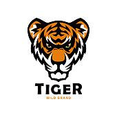 Angry tiger head mascot. Tiger face emblem.