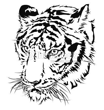 Tiger Kopf Silhouette Vektorgrafik Thinkstock