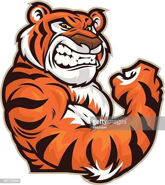 Tiger Mascot Flexing