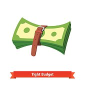 Tight budget and recession shrinking economy concept. Pack of money dollar bills squeezed by leather strap belt. Flat style vector illustration isolated on white background.