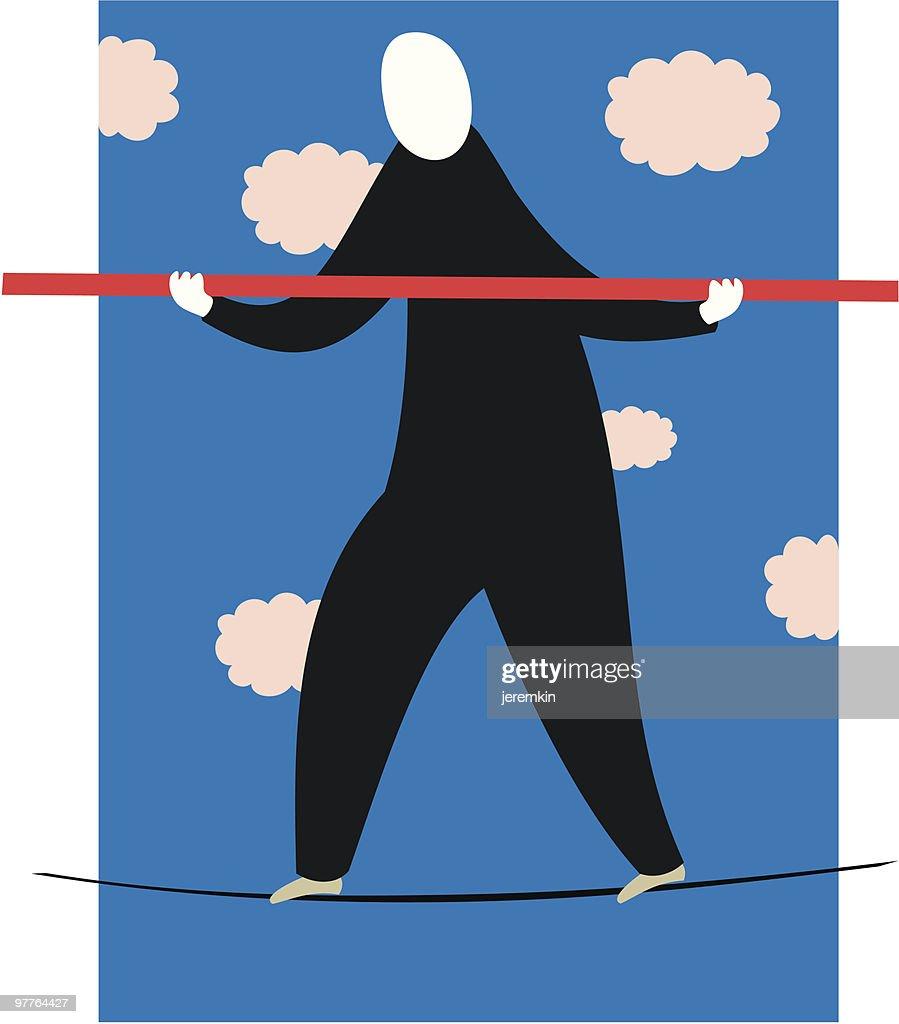 Tightrope Walker : Vector Art