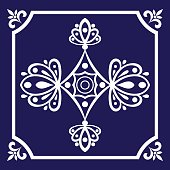 Tile pattern seamless vector blue and white color. Azulejo, portuguese tiles, spanish, moroccan, mexican talavera, turkish or delft dutch tiles design.