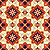 Tiles pattern vector with diagonal blue, red and white ornaments. Portuguese azulejo, mexican, spanish, arabic or moroccan motifs. Tiled background for wallpaper, wrapping paper or fabric.