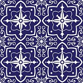 Tiles pattern vector with blue and white flowers ornaments. Portuguese azulejo, mexican, spanish or moroccan motifs. Tiled background for wallpaper, surface texture, wrapping or fabric.