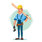 American Builder Vector. Building Timber Frame House. New Home. Roofer On Construction Site. Cartoon Character Illustration