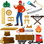 Timber vector lumberman character and logger saws lumber or hardwood set of wooden timbered materials in sawmill and lumberjack man isolated on white background.