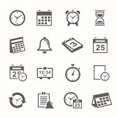 Time and Schedule stroke symbol icons set. Vector Illustration.