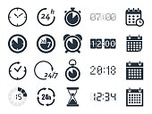 clock and time icons set, vector illustration