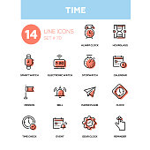 Time concept - line design icons set. High quality black pictogram. Alarm clock, hourglass, smart, electronic watch, stopwatch, calendar, pennon, bell, paper plane, check, event, gear, reminder