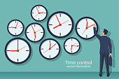Time control concept. Organization of process. Vector illustration flat design. Isolated on background. Businessman standing at wall with clock adjusts time.
