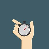 people hand holding analog stopwatch illustration