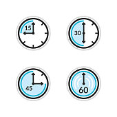 Clock vector icons. Time countdown vector set. Set of timers