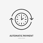 Time flat line icon. Automatic payment concept sign. Thin linear logo for quick loan, cash transfer, round the clock delivery vector illustration.