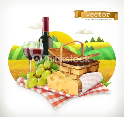 Time for a picnic, nature, outdoor recreation, a tablecloth and picnic basket, wine glasses, cheese and grapes, vector illustration
