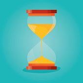 Modern vector illustration of Sandglass flat icons set with animation frames.Time hourglass, sandclock process timer.