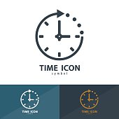 Time icon symbol. Vector illustration, Logo template design with business card