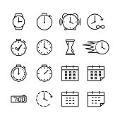 time icons set thin line on white background