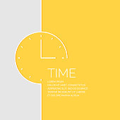 Time in a linear style. Vector illustration on a yellow background.