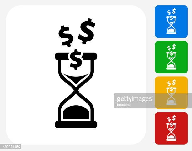 Time is Money Icon Flat Graphic Design