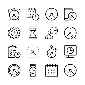 Time line icons set. Modern graphic design concepts, simple outline elements collection. Vector line icons