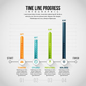 Vector illustration of Time Line Progress Infographic design element.