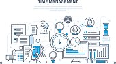Time management, planning and organization of working time, work process control and routine management, communications. Illustration thin line design of vector doodles, infographics elements.