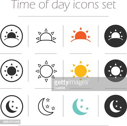 Time of the day simple icons set : stock vector