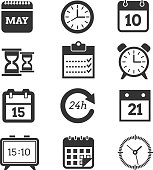 Time and schedule vector icons. Set of clocks and calendars, illustration of pictogram calendar and clock for business