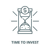 Time to invest vector line icon, outline concept, linear sign