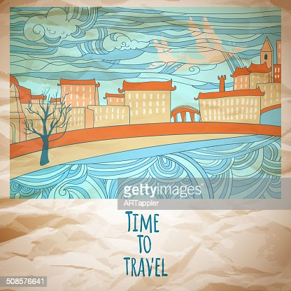Time to travel abstract drawing card : Vector Art