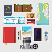 set of vector elements for travel . Boarding pass, guide map, camera